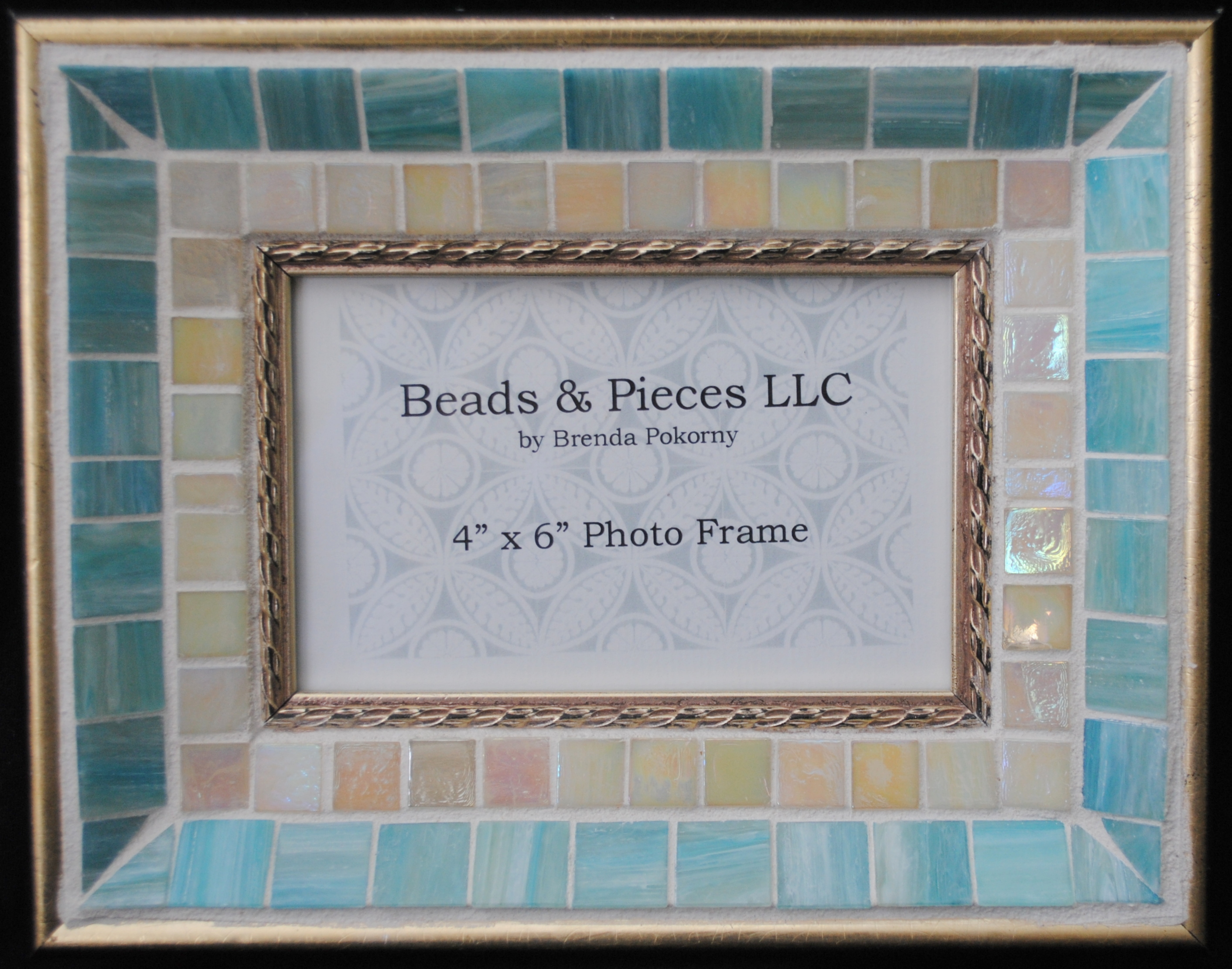 "MOF1195 Softest Aqua and Pearl on Gold 4"" x 6"" Mosaic Photo Frame"