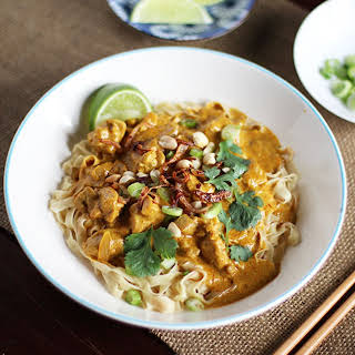 Egg Noodles in Rich Chicken Curry Sauce (Khao Soi).