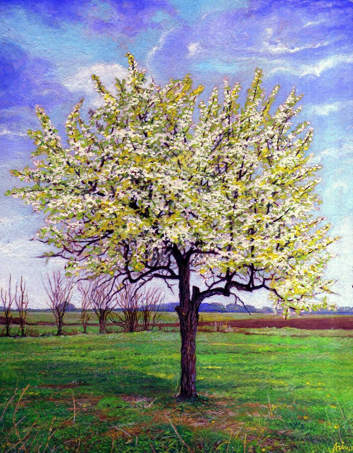 PEAR TREE IN APRIL I - Miniatura, MMXII - Tempera on carton - 3,94 X 3,15 in.jpg