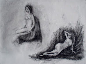 """Photo: Women Looking Off Frame, 2012, Brenda Clews, 18"""" x 24"""", 56cm x 40.5cm, charcoal on triple-primed cotton canvas sheet."""
