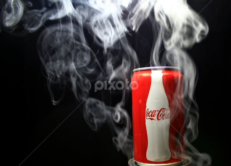 Smokey cold Coke. by Dipali S - Artistic Objects Other Objects ( coca cola, pwccans, beverage, coke, red can, smoke )