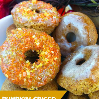 Pumpkin Spice Mini Cake Doughnuts with Pumpkin Spice Glaze