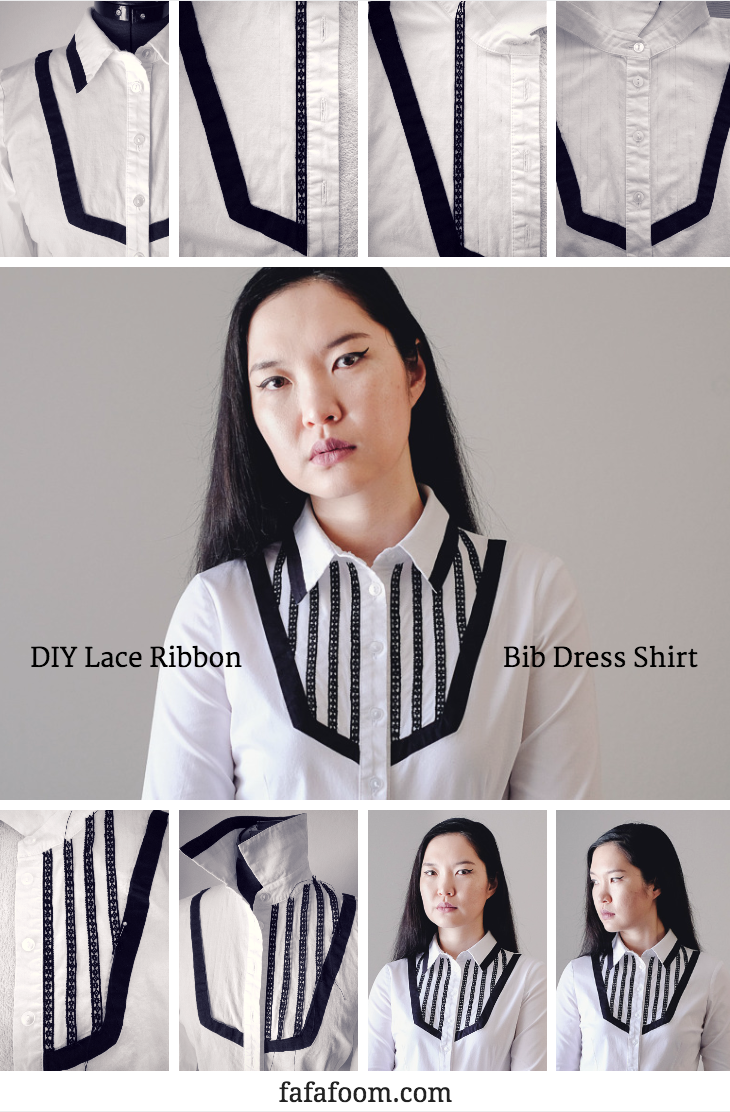 Lace Ribbon Trim Bib Shirt Refashion - DIY Fashion Garments | fafafoom.com