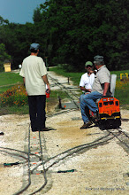 Photo: Brian Campopiano (standing) and Larry Bailey (egineer) with their BNSF 2008.  HALS - SWLS 2009-0523