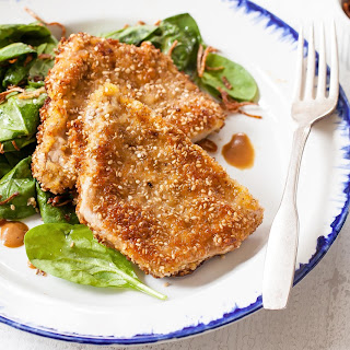 Sesame-Crusted Pork Cutlets with Crispy Shallots.