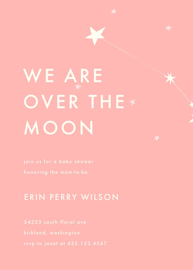 Over the Moon - Baby Card Template