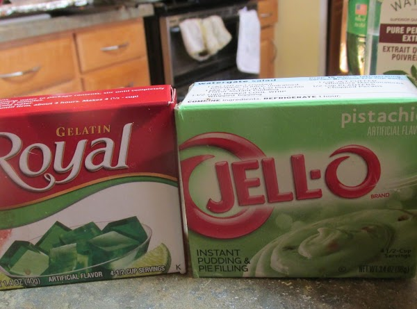Add the Jello Pistachio pudding mix to the batter, as well as the mini...
