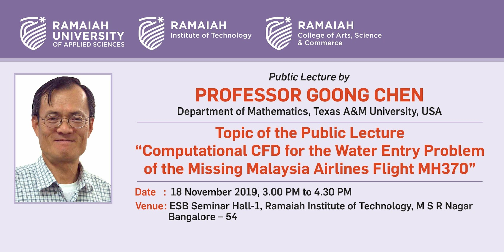 Public Lecture by Prof. Goong Chen