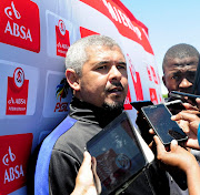 ABSA Coach of the Month Clinton Larsen, of Lamontville Golden Arrows being interviewed by members of the media during the Absa Premiership 2017/18 monthly awards at Moses Mabhida outer fields, Durban on 8 November 2017.