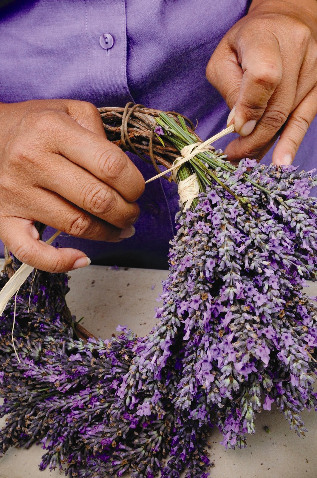 Photo: Step two of the lavender wreath craft project. PHOTO CREDIT: Ali'i Kula Lavender/The Maui Book of Lavender.