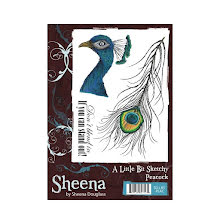 Sheena Douglass A Little Bit Sketchy A6 Stamp Set - Peacock UTGÅENDE