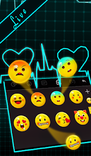 Live 3D Neon Blue Love Heart Keyboard Theme Screenshot