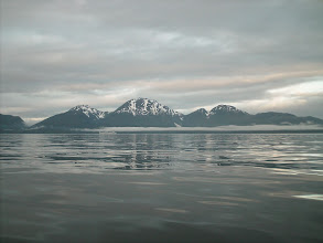 Photo: A cruise ship heads north up Stephens Passage with the Glass Peninsula in the background.