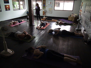 Photo: Jeenal Mehta teaching Bhujangasana (snake pose) during the morning class.