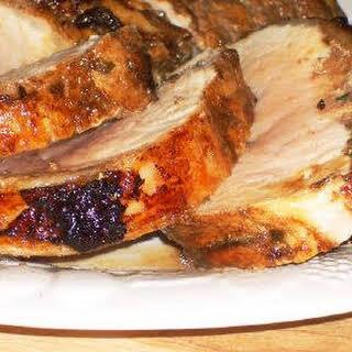 Rotisserie Pork Roast Recipe with Rosemary, Garlic, and Balsamic Vinegar.