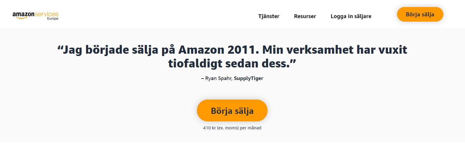 Förstasidan för att registrera sig som säljare på Amazon