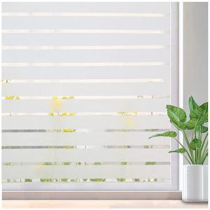 Folie decorativa pentru geam, Dungi Albe, 45 cm x 300 cm