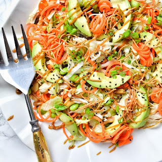 Asian Chicken Salad with Spiralized Carrots.