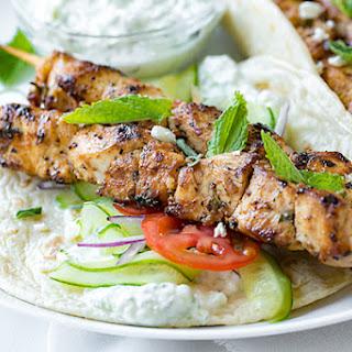 Chicken Kebab Wraps with Easy Tzatziki Sauce.