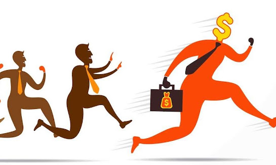Man running and chasing customer debts