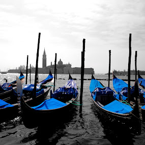 blue boats by Tyler Sleap - Artistic Objects Other Objects ( isolation, blue, color, mediterranean, boats, giorgio, venice, sea, italy, dock, maggiore )