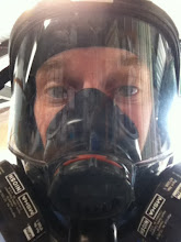 Photo: Spraying Zolatone for the interior.  Full face mask with NIOSH carbon air filters.