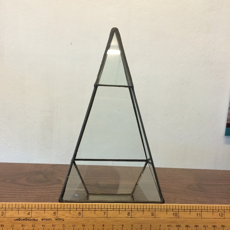 Triangular Decoration or Terrarium Hand Made Glass