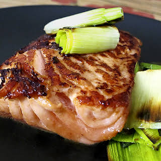 Soy Ginger Marinated Salmon With Leeks.