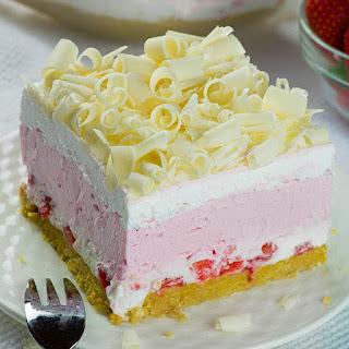 No Bake Strawberry Jello Lasagna.