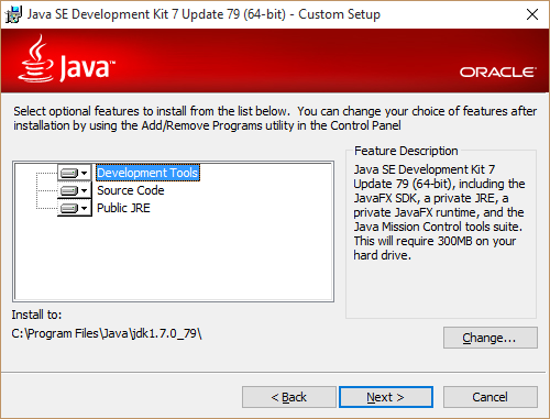 Select Java installation components