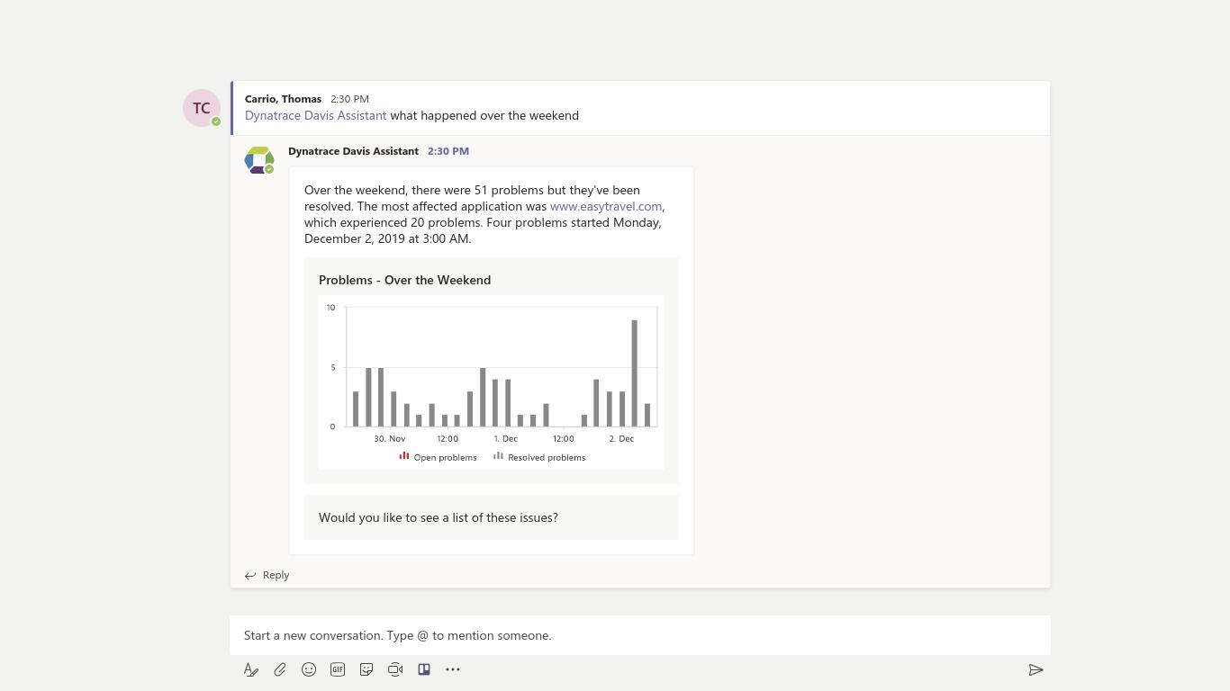 DevOps Dynatrace Davis App for MS Teams