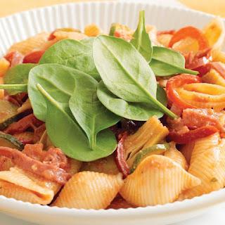 Crisp Salami and Artichoke Pasta