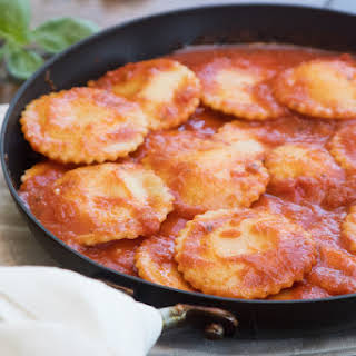 Four-Cheese Ravioli with Calabrian Chile Sauce.