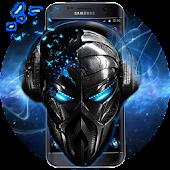 Unduh Blue Tech Metallic Skull Theme Gratis
