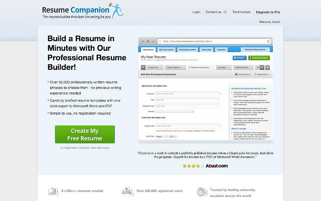 resumecompanion chrome web store