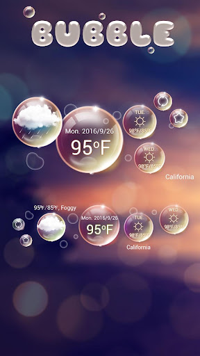 Bubble GO Weather Widget Theme screenshot