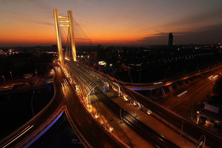 Basarab Bridge by Nicu Buculei - City,  Street & Park  Skylines ( lights, sunset, bridge, road, city, , night, Urban, City, Lifestyle )