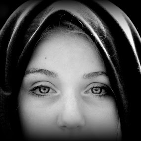 . by Cindy Walker - Black & White Portraits & People ( girl, black and white, intense, women, close up, , best female portraiture )
