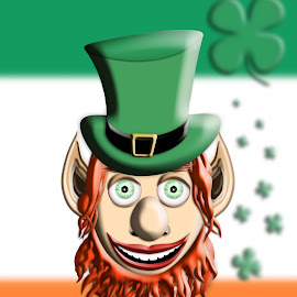 St Patrick's Day. Leprechaun With Green Hat Against Irish Flag a by Aleksandar Ilic - Illustration Holiday ( st. patrick, luck, hollidays, shamrock, gold, 17 march, pot, tradition, pot of gold, beer, st. patrick's day, celebration event, wealth, four leaf clover, smiling, green, drinking, cartoon, clover, leprechaun, irish culture, leaf, mythology, feast, rainbow, celtic, ginger, green color, animated, illustration, glitter, holy trinity, ireland )