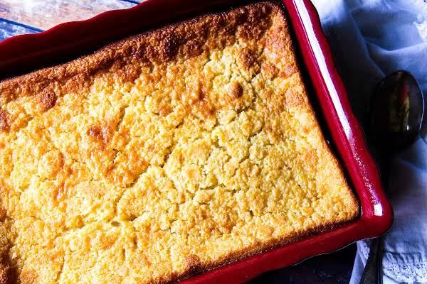 Golden Brown Holiday Baked Corn Pudding.