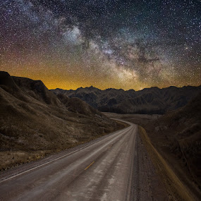 Take the Long Way Home by Aaron Groen - Landscapes Starscapes ( south dakota, road, badlands, milky way )
