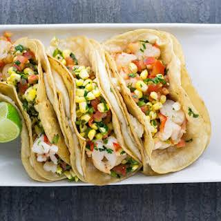 Shrimp Tacos with Corn Salsa.