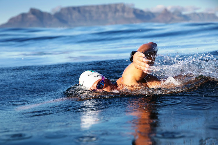 Ryan Stamrood during his 100th Robben Island swim on May 23 2019.