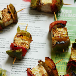 Tofu Tikka (Pan fried or grilled Tofu and Bell Peppers marinated in spicy Yogurt marinade)