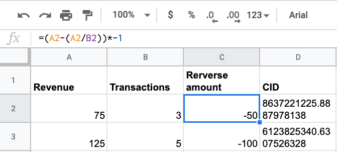 example of how to add refund data to a spreadsheet.