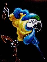 Photo: 307, Нетронина Наталья, Серия Попугайчики, Гога, Масло, бархат (живопись по бархату), 35х28см,
