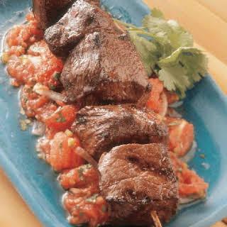 Hoisin Beef Kabobs With Tomato Salad.