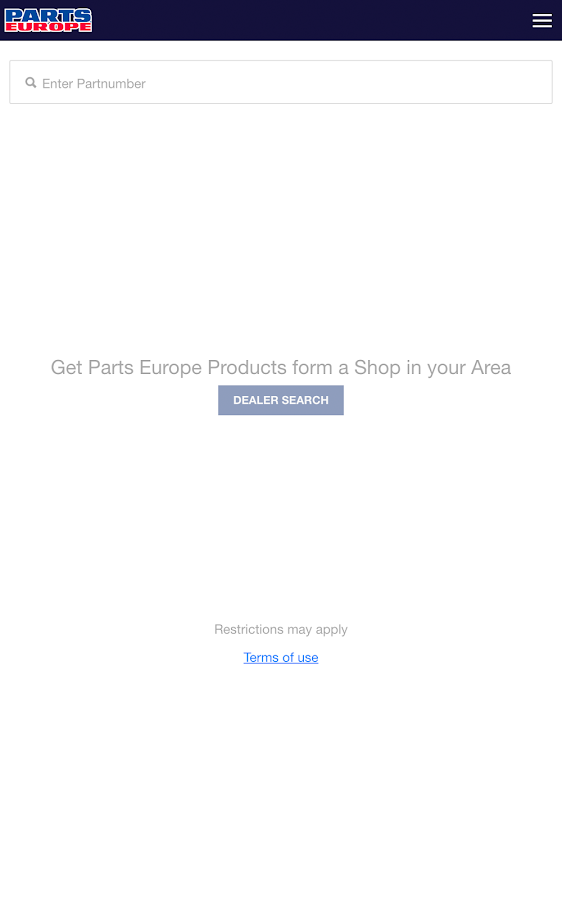 Parts Europe Inventory Search- screenshot