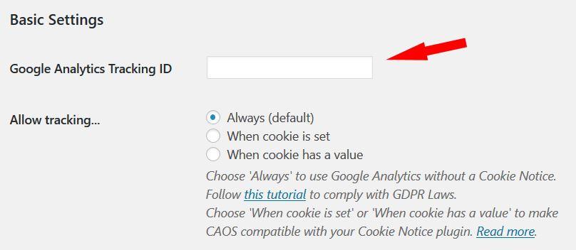 google analytics plugin basic settings