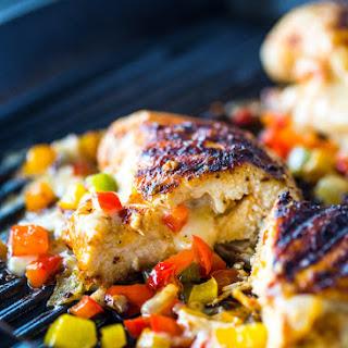 Cheese and Pepper Stuffed Grilled Chicken Breasts Recipe
